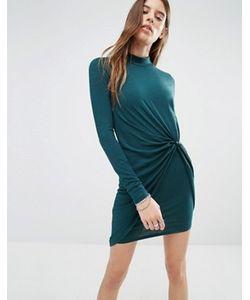 Noisy May | Облегающее Платье С Высоким Воротом И Перекрученным Дизайном