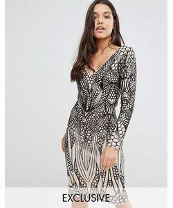 Club L | Платье Миди С Отделкой Пайетками
