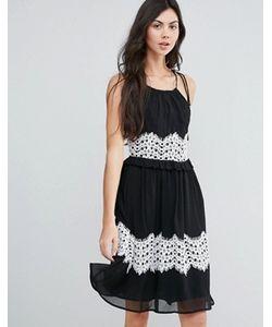 Endless Rose | Платье Миди С Контрастной Кружевной Отделкой