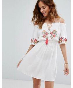 Floozie | Пляжное Платье С Открытыми Плечами И Вышивкой