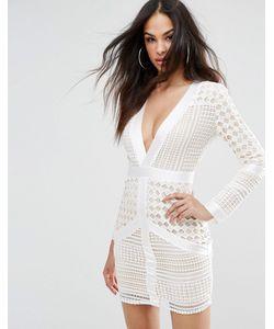 MISSGUIDED | Кружевное Облегающее Платье С Глубоким Декольте