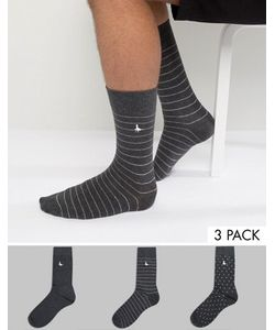 Jack Wills   Alandale Dot 3 Pack Socks Charcoal