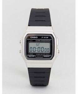 Casio | Цифровые Часы С Черным Силиконовым Ремешком F91wm-7a