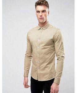 Asos | Песочная Саржевая Рубашка Скинни