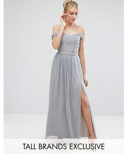 Little Mistress Tall | Платье Макси С Плиссированным Лифом И Открытыми Плечами