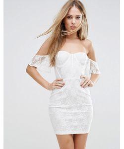 NaaNaa | Облегающее Кружевное Платье С Открытыми Плечами И С Топом В Стиле