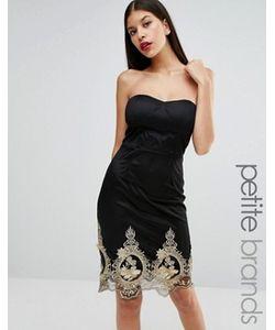 Boohoo Petite | Платье-Бандо Мини С Вышивкой По Низу