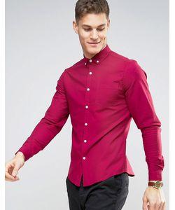 Asos | Темно-Розовая Эластичная Оксфордская Рубашка Узкого Кроя В Стиле Casual От