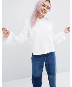 Monki | Flare Sleeve Polo Top