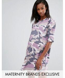 Missguided Maternity   Платье-Футболка Для Беременных С Камуфляжным Принтом