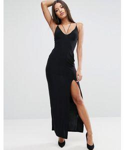 Club L | Платье Макси С Бретельками И Высоким Разрезом