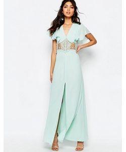 JARLO | Платье Макси На Пуговицах С Кружевными Вставками И Рукавами Бабочка