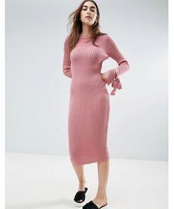 Asos | Трикотажное Платье В Рубчик С Узелками На Манжетах