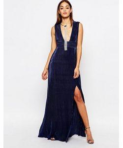 MISSGUIDED | Плиссированное Платье Макси С Глубоким Вырезом