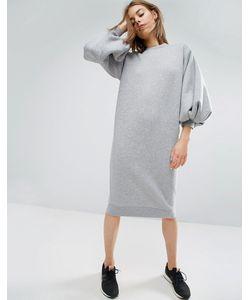 ASOS WHITE | Трикотажное Платье С Пышными Рукавами
