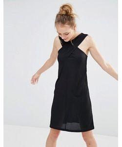 Monki   Платье В Рубчик С Перекрестным Дизайном Спереди