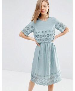 Asos   Двухслойное Платье Миди Вышивкой
