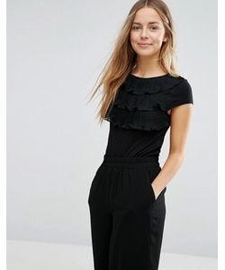 Vero Moda   Ярусная Рубашка С Короткими Рукавами И Оборками Спереди