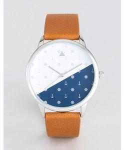 Asos | Часы Со Светло-Коричневым Ремешком Из Искусственной Кожи И Принтом Якоря
