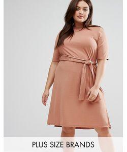 Pink Clove | Платье Миди В Рубчик С Разрезами По Бокам Plus