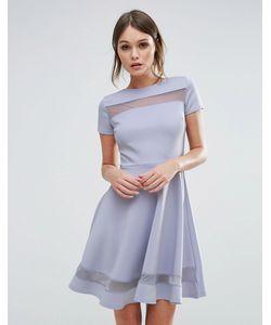 Club L | Короткое Приталенное Платье С Сетчатыми Вставками