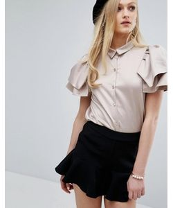 Sister Jane | Рубашка Цвета Металлик С Короткими Рукавами-Оборками
