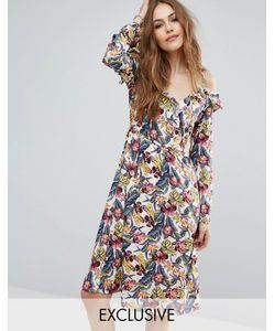 Vero Moda | Платье С Цветочным Принтом Открытыми Плечами И Оборками