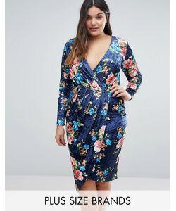 Club L | Бархатное Платье С Асимметричным Подолом И Принтом Plus