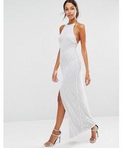 NaaNaa | Кружевное Платье Макси С Пайетками И Высоким Разрезом