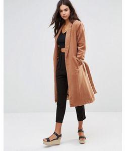 Unique 21 | Пальто В Стиле Халата С Поясом-Завязкой