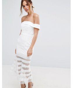 JARLO | Платье Миди С Открытыми Плечами И Полупрозрачной Юбкой В Полоску