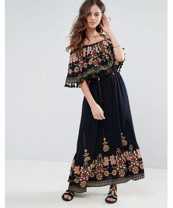 boohoo   Платье Макси С Вышивкой Принтом И Кисточками