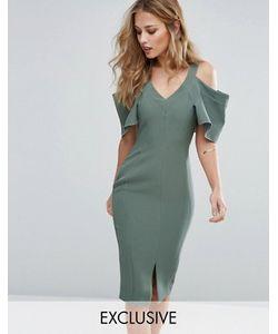 Vesper | Платье-Футляр С Вырезами На Плечах И Рукавами Рюшами