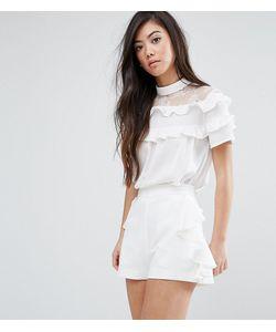 Fashion Union Petite   Блузка С Кружевной Кокеткой И Рюшами