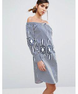 Closet London | Полосатое Платье Мини С Открытыми Плечами