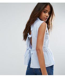 Glamorous Tall | Рубашка В Тонкую Полоску С Баской И Бантами Сзади