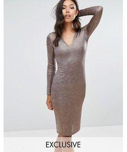 Club L | Платье Миди С V-Образным Вырезом
