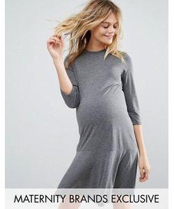 Bluebelle Maternity | Трикотажное Платье Для Беременных С Рукавами 3/4 И Баской