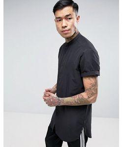 Asos | Черная Супердлинная Рубашка Классического Кроя