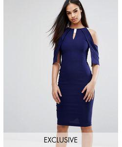 Vesper | Платье-Футляр С Открытыми Плечами Оборками И Атласной Отделкой