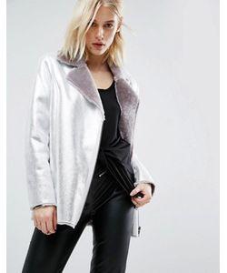 Asos | Длинная Байкерская Куртка Из Искусственной Кожи С Меховой Подкладкой