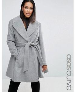 ASOS CURVE | Короткое Приталенное Пальто С Оversize-Воротником И Поясом
