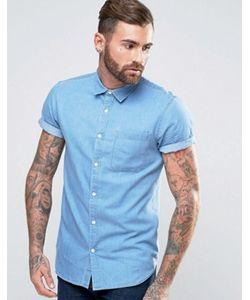 New Look | Выбеленная Джинсовая Рубашка Классического Кроя С Коротким Рукавами