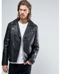 Asos | Черная Кожаная Байкерская Куртка