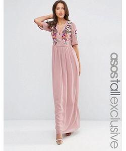 ASOS TALL   Платье Макси С Запахом И Вышивкой Premium