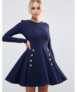 Club L | Короткое Приталенное Платье Из Крепа С Пуговицами В Стиле Милитари Club