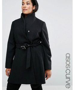 ASOS CURVE | Короткое Приталенное Пальто С Воротникомтруба