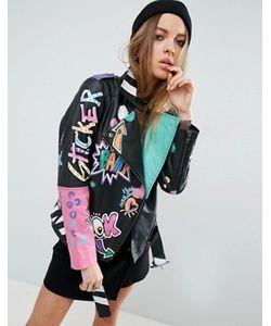 Asos | Байкерская Куртка С Нанесенным Вручную Принтом