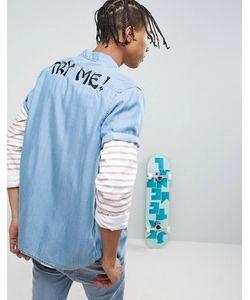 Asos | Джинсовая Рубашка Стандартного Кроя С Вышивкой X Lot Stock
