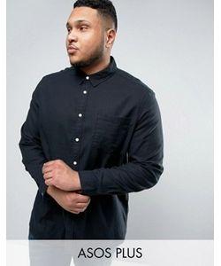 Asos | Черная Меланжевая Рубашка Классического Кроя Из Вискозы Plus